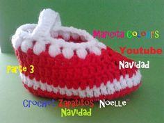 """Crochet Tutorial Bebe Zapatitos """"Noelle"""" (Parte 3) Navidad Escarpines - YouTube"""