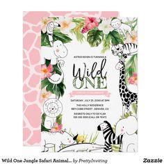 Wild One Jungle Safari Animal Girls First Birthday Invitation Summer Birthday, 15th Birthday, Girl First Birthday, Birthday Celebration, Birthday Cards, Wild One Birthday Invitations, Zazzle Invitations, Jungle Safari, Safari Animals