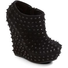 Spikes Peak Wedge ($70) ❤ liked on Polyvore featuring shoes, boots, heels, wedges, low heel shoes, platform wedge boots, platform heel boots, spiked platform boots and low wedge shoes