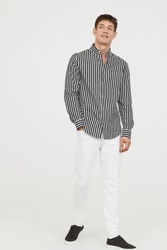 Jean Taille ajustée - Blanc - HOMME | H&M CA 1 Jeans, Skinny, Long Sleeve, Sleeves, Tops, Women, Fashion, Human Height, Moda