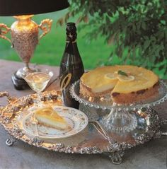 dessert and champagne served on a silver tray