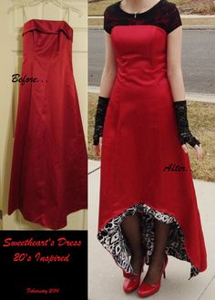 Modest Alteration by Haley DuCharme 20's Inspired Red Modest High-low dress.
