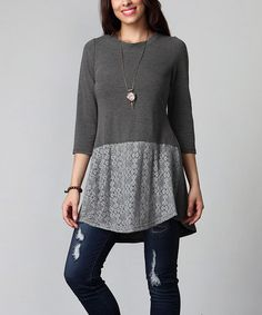 Look what I found on #zulily! Charcoal Lace-Hem Tunic - Plus #zulilyfinds