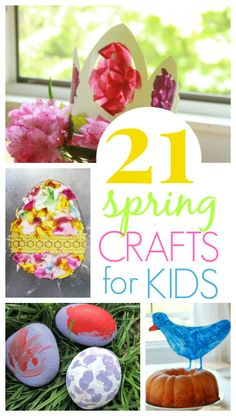 21 Spring Crafts Kids will Love - Flower crafts, Easter egg crafts, birds' nest crafts, and more! Easter Activities, Spring Activities, Fun Activities For Kids, Craft Activities, Preschool Crafts, Creative Activities, Creative Play, Family Activities, Spring Crafts For Kids