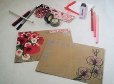 Flower Design handmade - DIY - snailmail - envelope - envelope