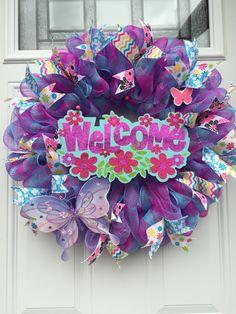 Summer purple/pink deco mesh wreath