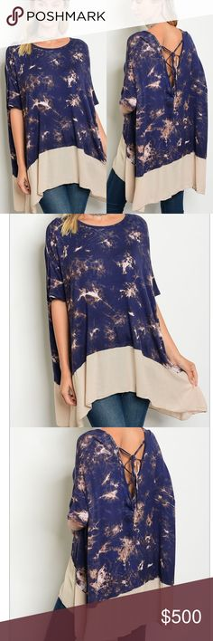 🆕⭐️Navy & Taupe TyeDye oversize Tunic New to BellaBae! Navy blue and Taupe TyeDye Tunic with an oversize comfy fit. Features a beautiful Lace up back and solid hemline. Rayon and spandex blend. BellaBae Tops Tunics