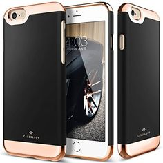 iPhone 6 Case, Caseology® [Savoy Series] [Black] Dual Layer Slider / Soft Interior Cover [Premium Rose Gold Case] for Apple iPhone 6 (2014)