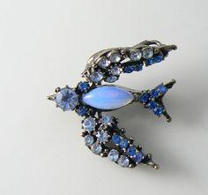 Florenza Blue Rhinestone Trembler Bird Pin Unique vintage, antique, costume and estate jewelry. by VintageLaneJewelry on Etsy https://www.etsy.com/listing/188020062/florenza-blue-rhinestone-trembler-bird