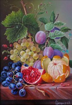 Натюрморт с фруктами Painting Tips, Artist Painting, Fruit Art, Painting Still Life, Tea Art, Beautiful Artwork, Watercolor Landscape, Mosaic, Art Pictures