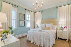 aqua blue coastal bedroom