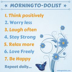 Good morning! How about this to-do list? What would your morning to-do list be? #wellness #healthcoach