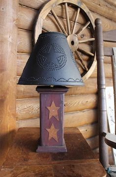 Primitive Barn Red and Tin Stars Lamp with by AmericasFrontPorch, $115.00