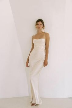 Effortless simplicity for the modern bride, Shona Joy's new bridal line is a beautiful collection of liquid-like silks in elegant cuts that glide beautifully over the body creating a feminine silhouette. Cream Wedding Dresses, Slip Wedding Dress, Minimal Wedding Dress, Minimalist Wedding Dresses, Cream Dresses, White Formal Dresses, Cowl Neck Wedding Dress, Pregnant Wedding Dress, 21 Dresses