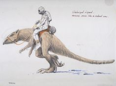 Early concept art by Ralph McQuarrie of the creature that would become the tauntaun.