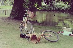 Biking to a picnic on the river