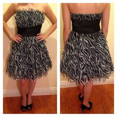 💚Windsor formal Zebra Dress Short formal dress with zebra print. Message for price negotiations 😄 Only worn once. Super fun to wear! I felt like I was on the red carpet wearing it! Accent with color shoes (red, blue, purple) or go for the classic black look. Or perfect to wear with the heels listed in my posh closet, bundle? 😉 Windsor Dresses Prom