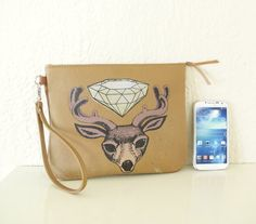 Leather Folio with Diamond Spirit Deer by bonspielcreation on Etsy