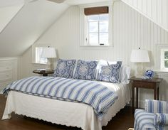 contrast between blue and white always seems to work well with the coastal touch! love this bed spread and the walls