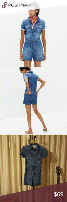 """Madewell Santa Fe Denim Romper An easy one-piece that gives a nod to '70s street style (very """"supermodel at the roller rink,"""" we think). With authentic snap closures and a lovingly worn-in finish, this lightweight denim romper is surprisingly versatile (no skates required).    True to size. 3 1/2"""" inseam. Cotton. Machine wash. Import. Item F1546. Madewell Other"""