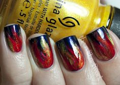 "Hunger Games ""Girl on Fire"" nails"