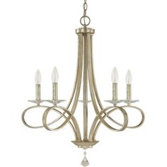 Showcasing a scrolling steel frame and an iced gold-hued finish, this eye-catching chandelier stylishly illuminates your dining room or entryway hall.