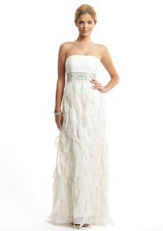 240 Sue Wong Strapless Feather Gown