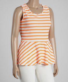 Another great find on #zulily! Orange & White Stripe Peplum Top - Plus #zulilyfinds