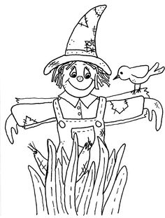 scarecrow coloring pages free large images - Scarecrow Coloring Pages