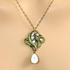 Anne Koplik Designs: Green & White Opal Teardrop Necklace