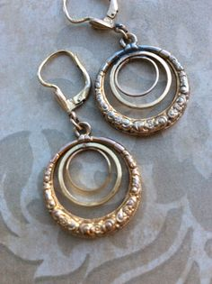 Antique VICTORIAN HOOP EARRINGS Gold Filled Triple Circle Curvaceous 2 sided Floral Etched Repousse Pretty Drop Dangle 14 k new ear wires