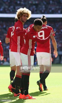 Jesse Lingard of Manchester United celebrates scoring their first goal during the FA Community Shield match between Leicester City and…