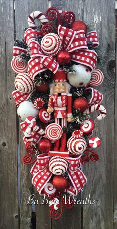 Nutcraker Swag Red and White Christmas Christmas by BaBamWreaths