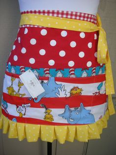 Aprons Dr. Seuss Womens Handmade Aprons Cat In by AnniesAttic