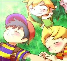 Link, Ness, Earthbound - Smash Bros fan art