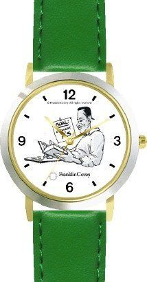 Habit 2 - Goal, Straight A's (English Text) - DELUXE TWO-TONE WATCH from THE 7 HABITS - WATCH COLLECTION BY WATCHBUDDY® - Arabic Numbers - Green Leather Strap-Size-Children's Size-Small ( Boy's Size & Girl's Size ) WatchBuddy. $49.95