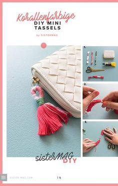 DIY Mini Kassels zum Selbermachen. Shibori, Mini, Tassels, Glamour, Bags, Suitcases, Textiles, Diy Crafts, Nice Asses