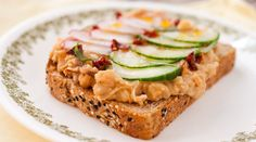 White bean toasts with creamy cannellini beans, sun-dried tomatoes, and crunchy…