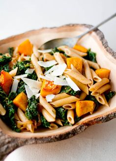 Penne with Butternut Squash & Kale Kale Recipes, Pasta Recipes, Whole Food Recipes, Vegetarian Recipes, Healthy Recipes, Vegetarian Times, Healthy Foods, Yummy Recipes, Healthy Life