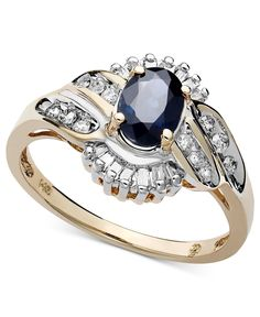 14k Gold Ring, Sapphire (1 ct. t.w.) and Diamond (1/3 ct. t.w.) Oval Swirl