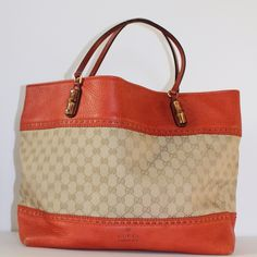 GUCCI Laid Back Crafty Original GG Canvas Tote Outside is in Great Condition. Light Wear on bottom four corners. Inside, on the linen lining there are signs of wear.    Burnt Orange Original GG canvas with leather detail. Hand-stitched contrast leather threading and blanket stitching. Interior zip and smart phone pockets. Natural cotton linen lining. LARGE size: W38cm x H30cm x D17cm Made in Italy. Please feel free to ask any questions. Additional photos available.  PRICED TO SELL! No…