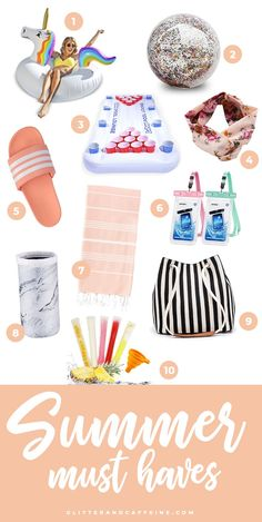 Summer Must Haves - Best Online Shopping Finds - Glitter and Caffeine Amazon Purchases, Adidas Slides, Summer Pool Party, Best Amazon, Caffeine, Gift Guide, Must Haves, Online Shopping, Glitter