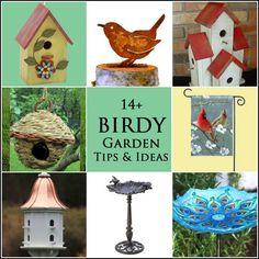 14 Birdy garden tips ideas for the garden. If you love gardens, birds are a natural part of it. Celebrate these delightful creatures with unique bird feeders, bird baths, nesting boxes, birhouses, and garden art. #sponsored