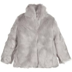 Girls grey, synthetic fur jacket by Molo. It has a stand up fur collar and closes with large, concealed, fabric-covered hooks and eyes down the front. Fully lined in smooth grey cotton, it would look glamorous both dressed down with jeans or dressed up with an evening dress.