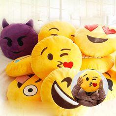 32cm Hot 20 Styles Soft Emoji Smiley Emoticon Round Cushion Pillow Stuffed Plush Toy Doll Christmas what's app emoji Cushion A6
