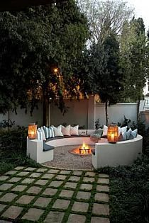 Half circle outdoor bench with fire pit
