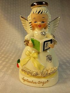 """A REALLY CUTE Vintage Lefton September Birthday Angel #1369 Holding Math Book. The Angel is 4 1/4"""" Tall , made in Japan in the 1950's. by VintageQualityFinds on Etsy"""