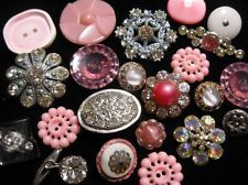 LOT OF VINTAGE BUTTONS ART DECO GLASS METAL PLASTIC RHINESTONES FLOWERS PINKS