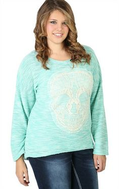 Deb Shops #mint Plus Size Long Sleeve Knit High Low Sweater Crochet Skull Patch $19.42