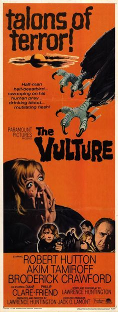 The Vulture (1967) was incredibly addled. The high (or low) point came as Akim Tamiroff's scientist goes into high camp mode transforming into a half-man/half-vulture in a costume better suited for an office Halloween party than a film.